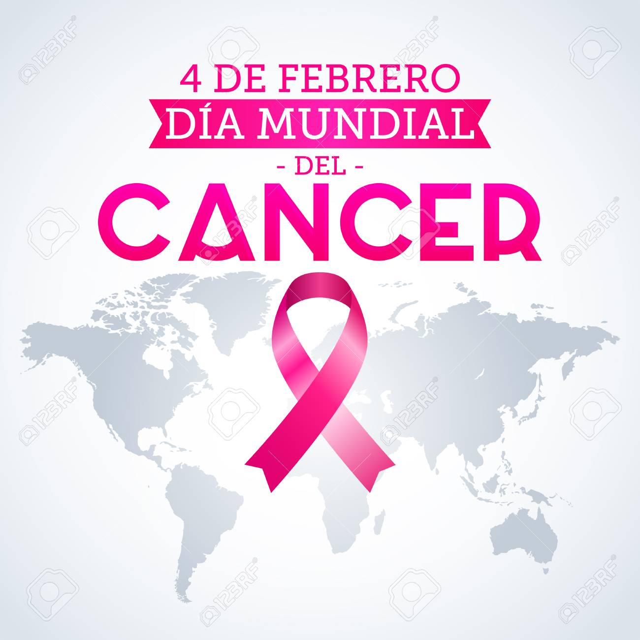 Dia Mundial Del Cancer World Cancer Day February Spanish - Pink world map poster