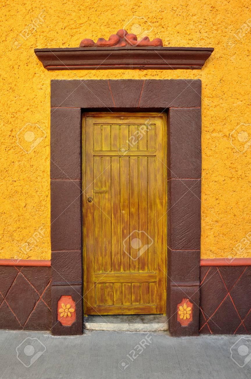 Mexican Colorful Colonial Style Door In Bernal Queretaro Mexico