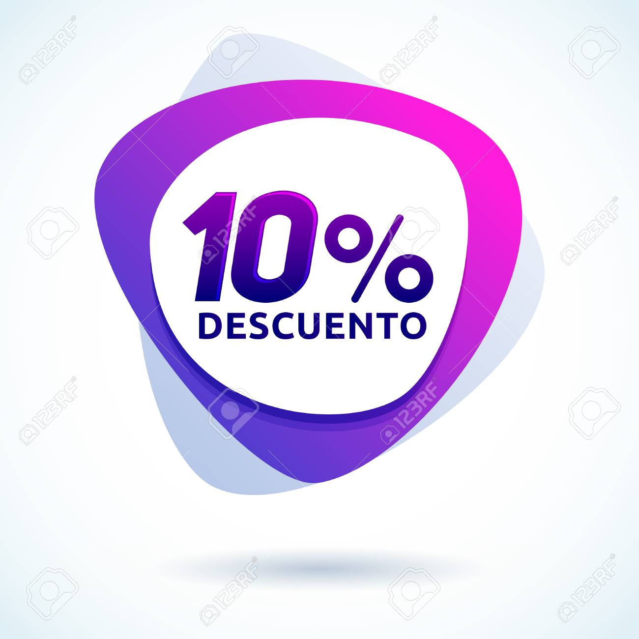 10% descuento, Spanish text, modern sale tag vector illustration,