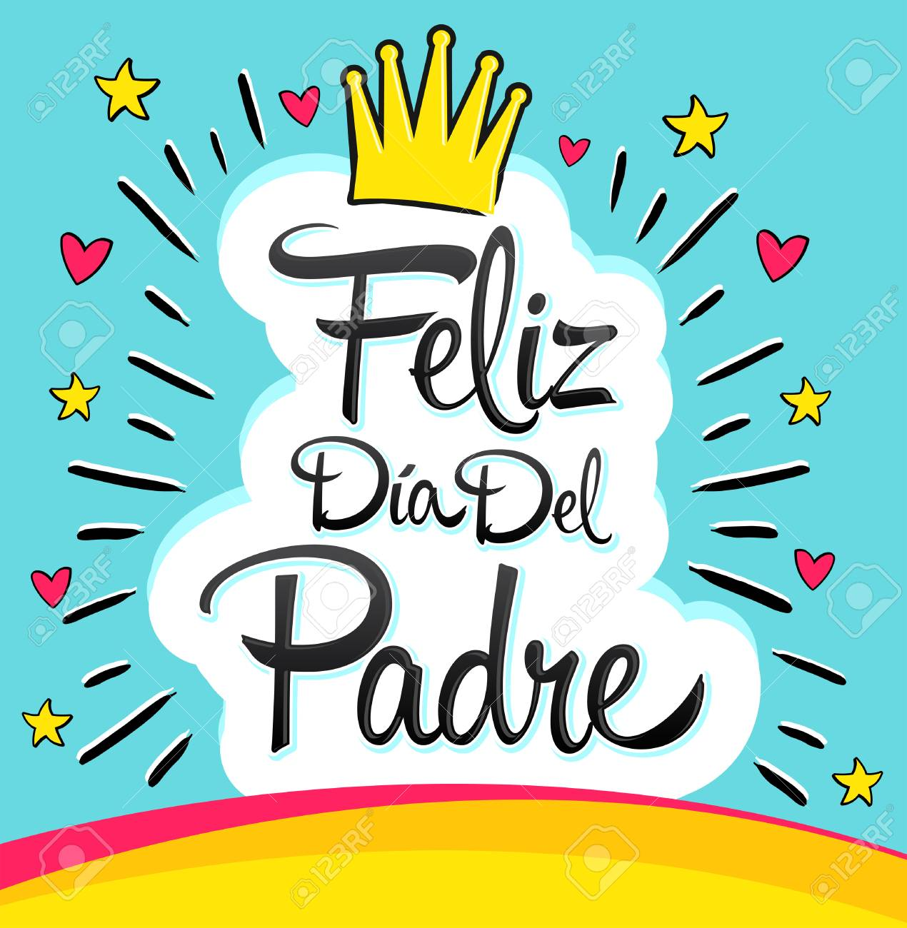 Feliz Dia Del Padre, Happy Fathers Day Spanish Text, Vector ...