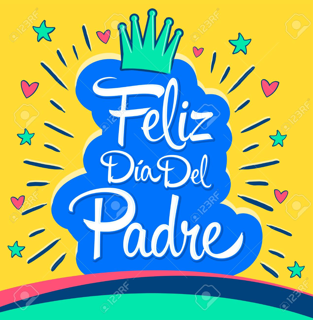 feliz dia del padre happy fathers day spanish text vector