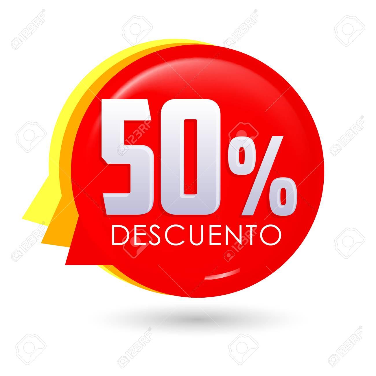 50% Descuento, 50% discount spanish text, bubble sale tag vector
