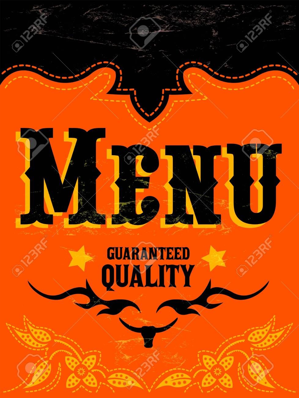 Restaurant Menu Design Western Wild West Style Vector Cover Royalty Free Cliparts Vectors And Stock Illustration Image 128924604