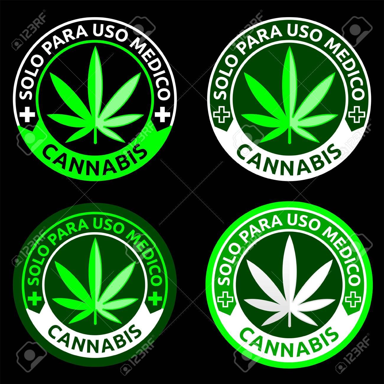 Cannabis, Solo para uso Medico, Only for Medical use spanish text, Medical Marijuana emblem. - 142922845