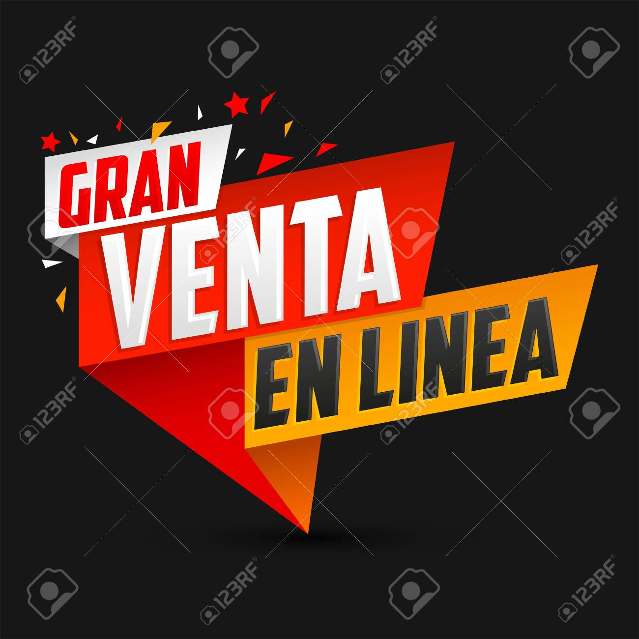 Gran Venta en Linea, Great Online Sale Spanish text, vector design. - 150606508