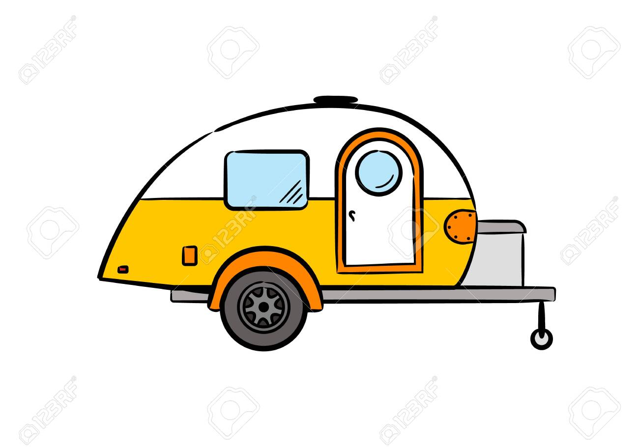 Hand-drawn retro caravan trailer. Camper isolated on white background. Vector illustration on the theme of travel, caravanning, camping, hiking and motorhomes. - 151101282