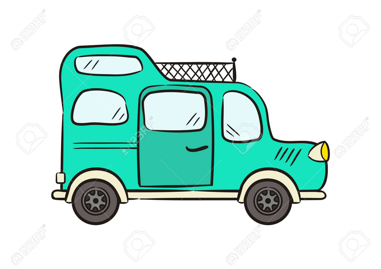 Hand drawn Turquoise minivan with roof rack. Motorhome isolated on white background. Doodle Vector illustration on the theme of travel, caravanning, camping, hiking and motorhomes. - 165769095
