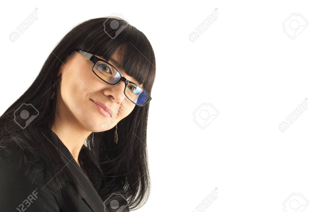 Portrait of the smiling business woman in glasses Stock Photo - 5938913