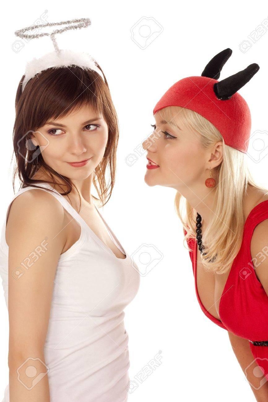 Portrait angel and devil girls over white Stock Photo - 6244833