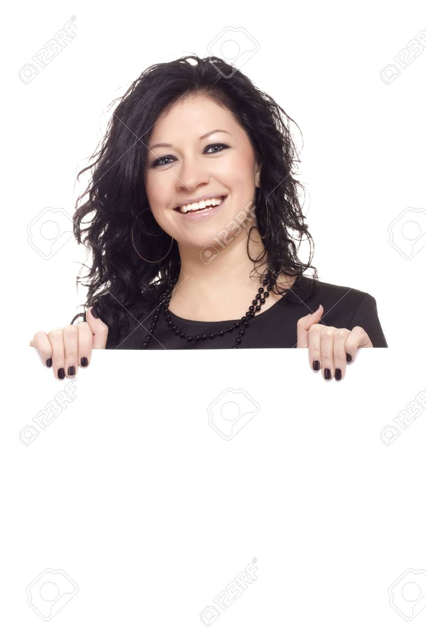 beautiful girl peeping over a wall isolated over a white background Stock Photo - 6342341