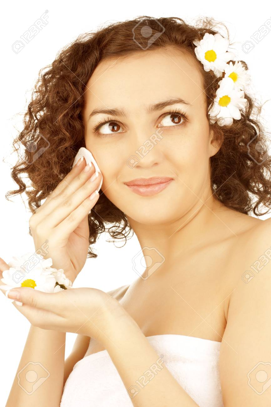beautiful woman  with camomile flower on white background Stock Photo - 6696976