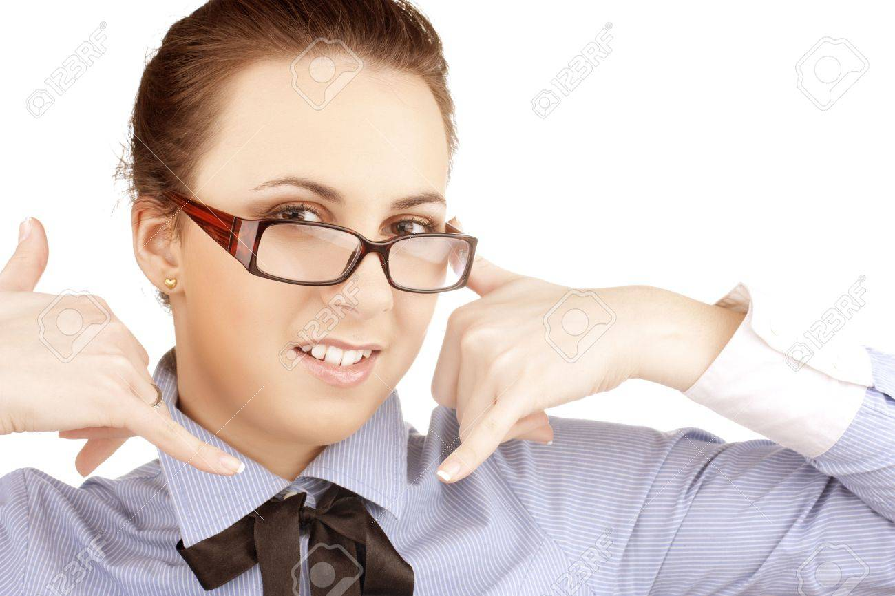 beautiful young girl shows gestures two telephones Stock Photo - 6696975