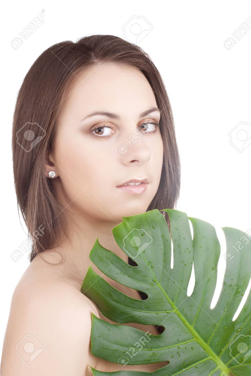 portrait of young beautiful girl with green leaf Stock Photo - 6813220