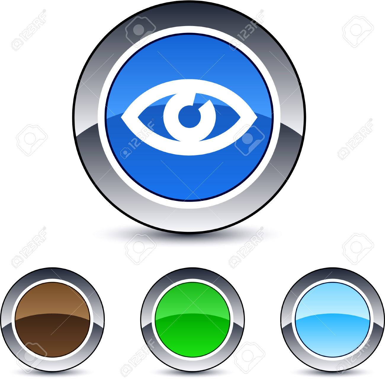 Eye glossy round web buttons. Stock Vector - 7076421