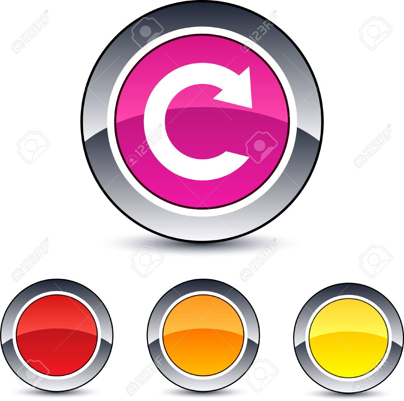 Reload glossy round web buttons. Stock Vector - 7076435