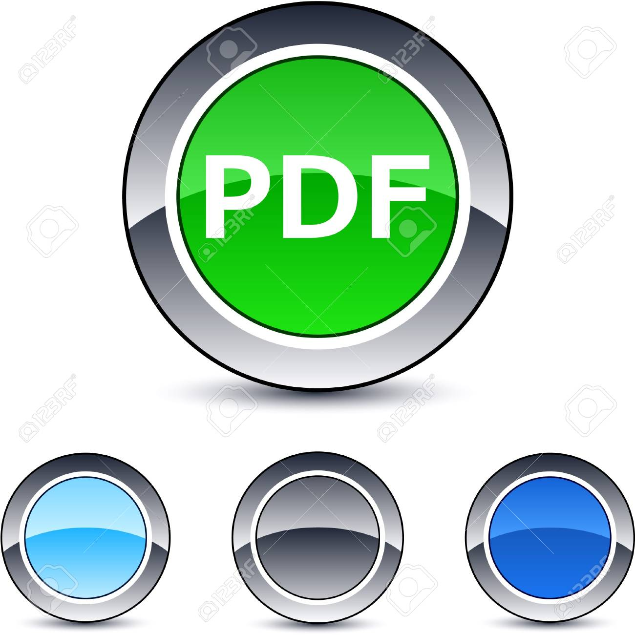 PDF glossy round web buttons. Stock Vector - 7076458