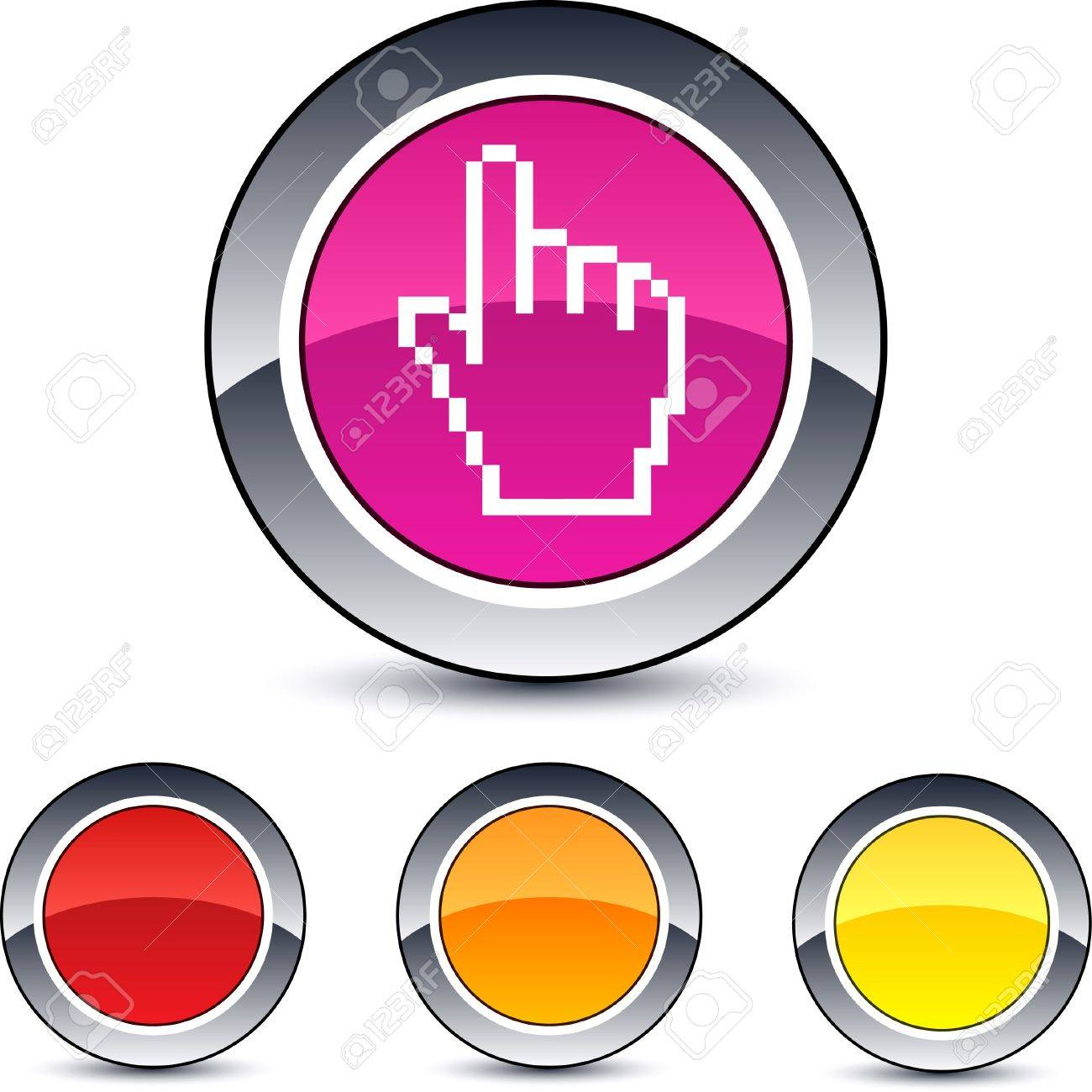 Pixel hand glossy round web buttons. Stock Vector - 7099053