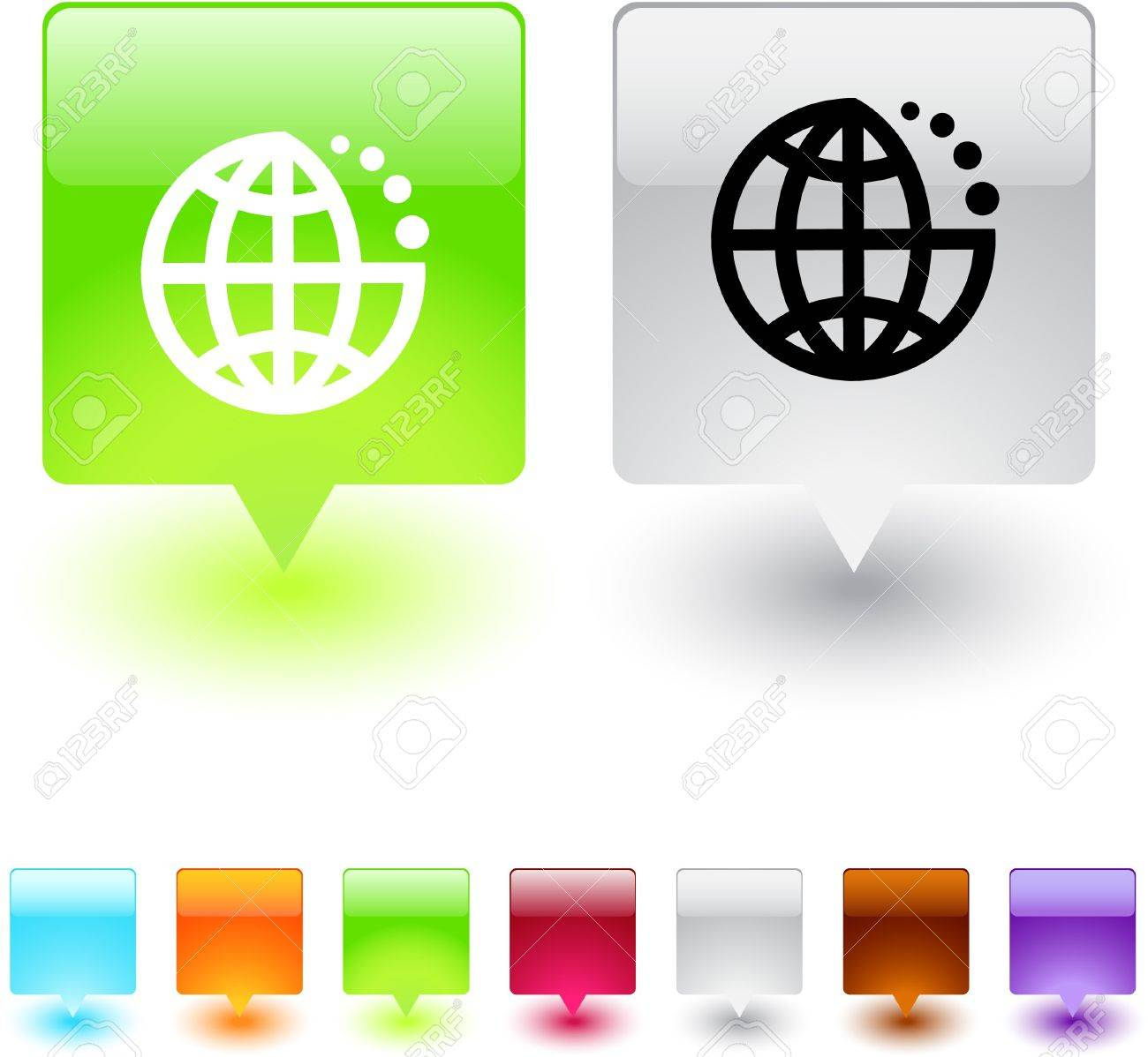 Planet glossy square web buttons. Stock Vector - 7118610