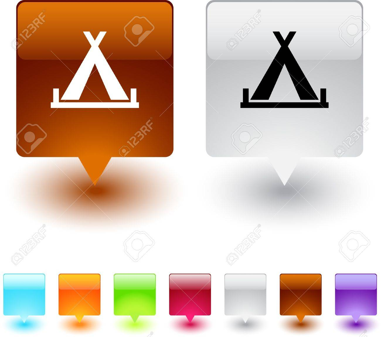 Tent glossy square web buttons. Stock Vector - 7118644