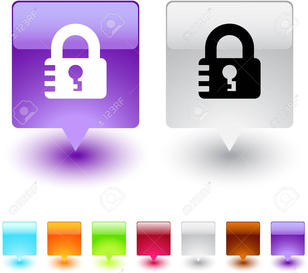 Lock glossy square web buttons. Stock Vector - 7118643