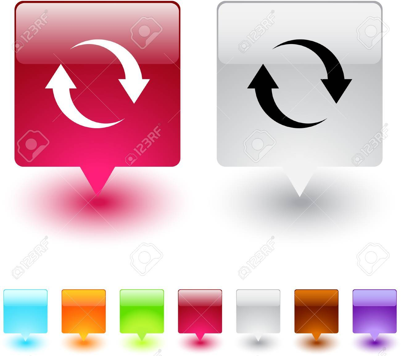 Refresh glossy square web buttons. Stock Vector - 7135043