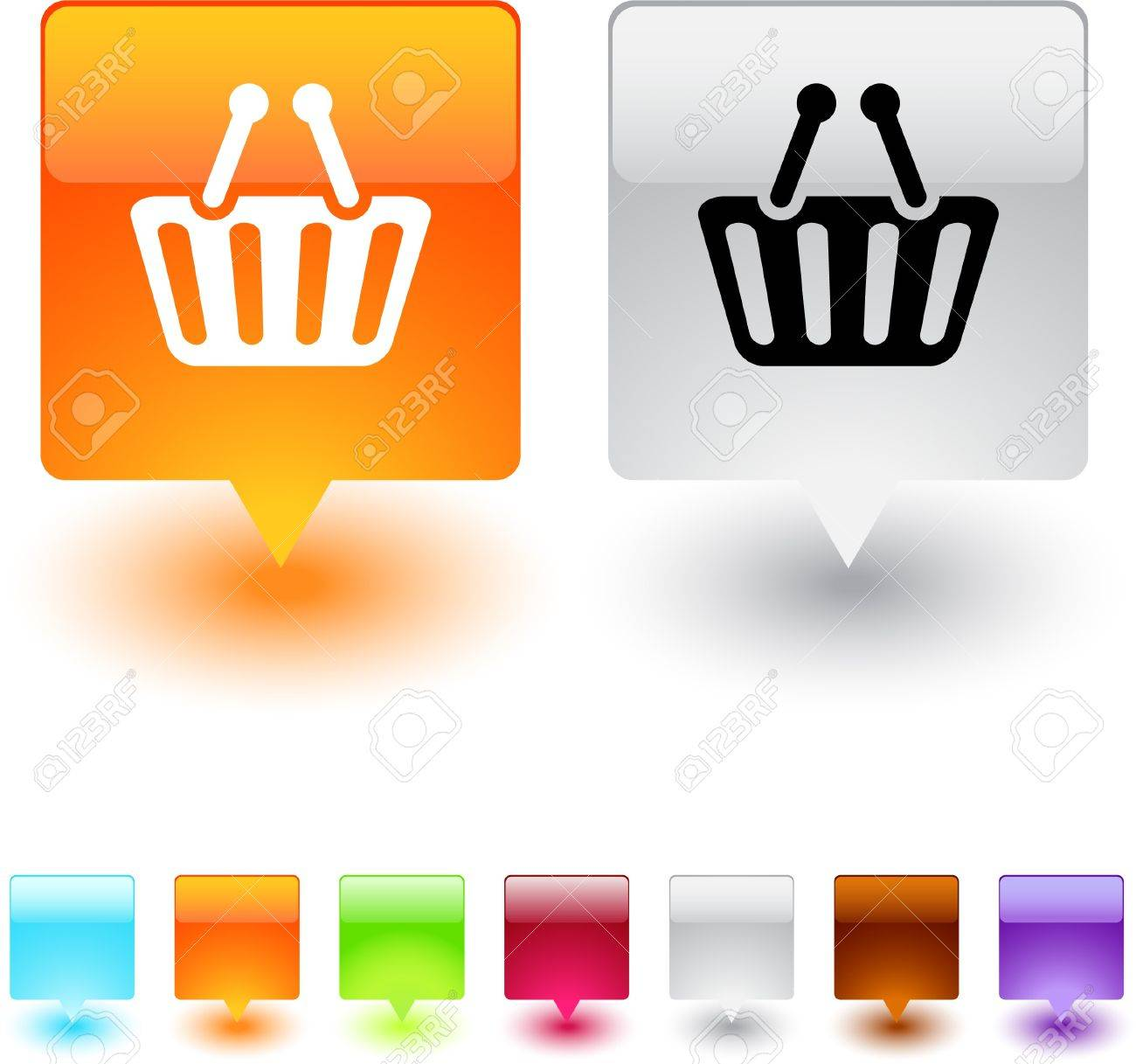 Shopping cart glossy square web buttons. Stock Vector - 7138539