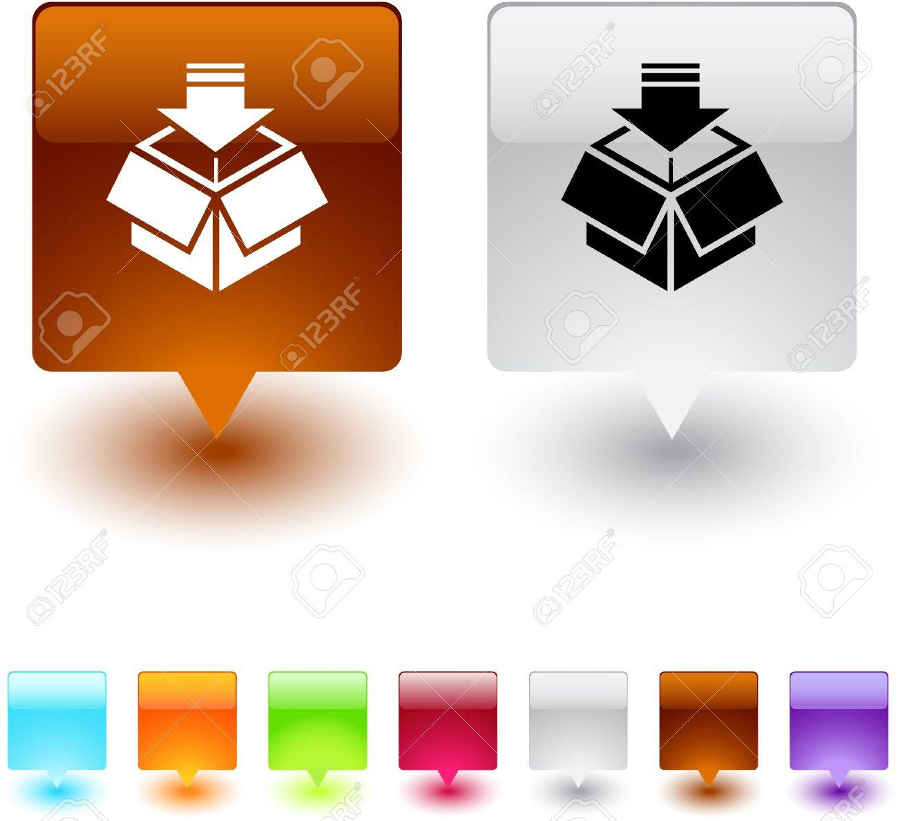 Package glossy square web buttons. Stock Vector - 7138485