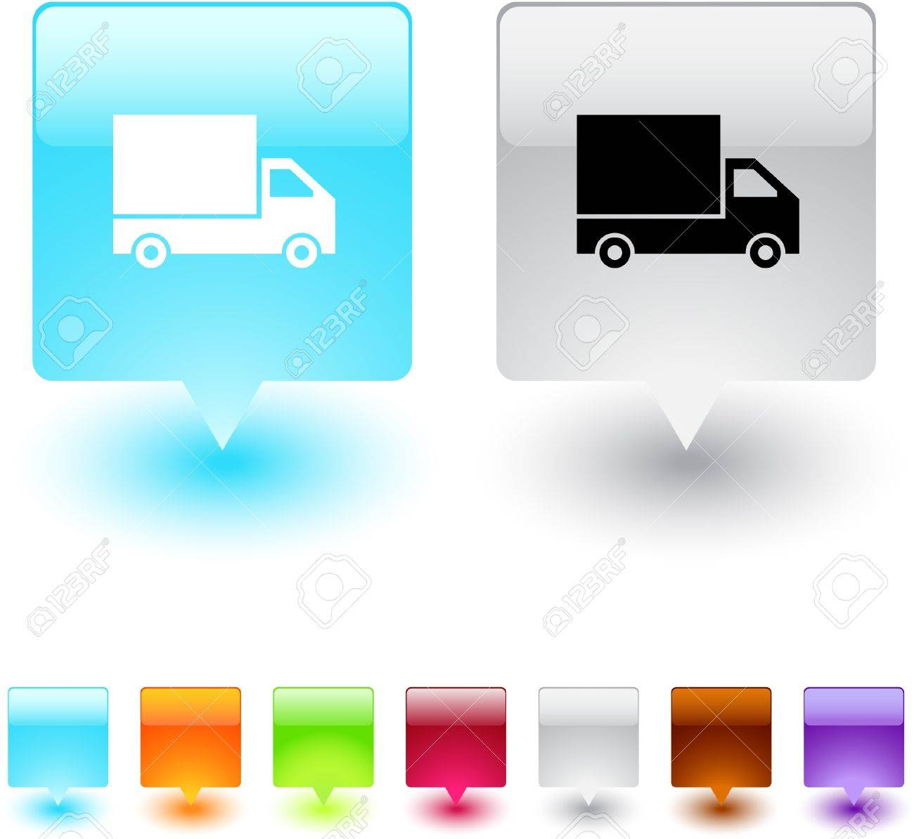 Delivery glossy square web buttons. Stock Vector - 7138587