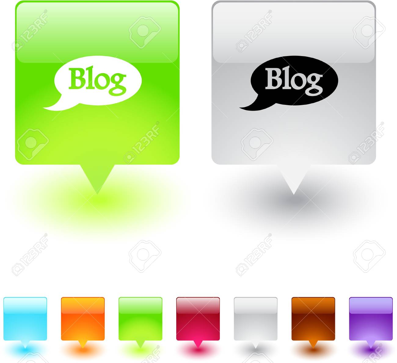 Blog glossy square web buttons. Stock Vector - 7155234