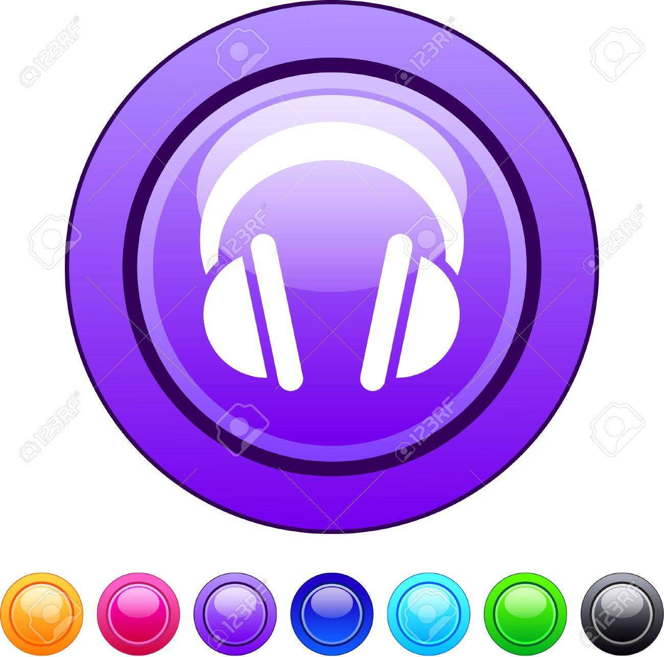 Headphones glossy circle web buttons. Stock Vector - 7252460