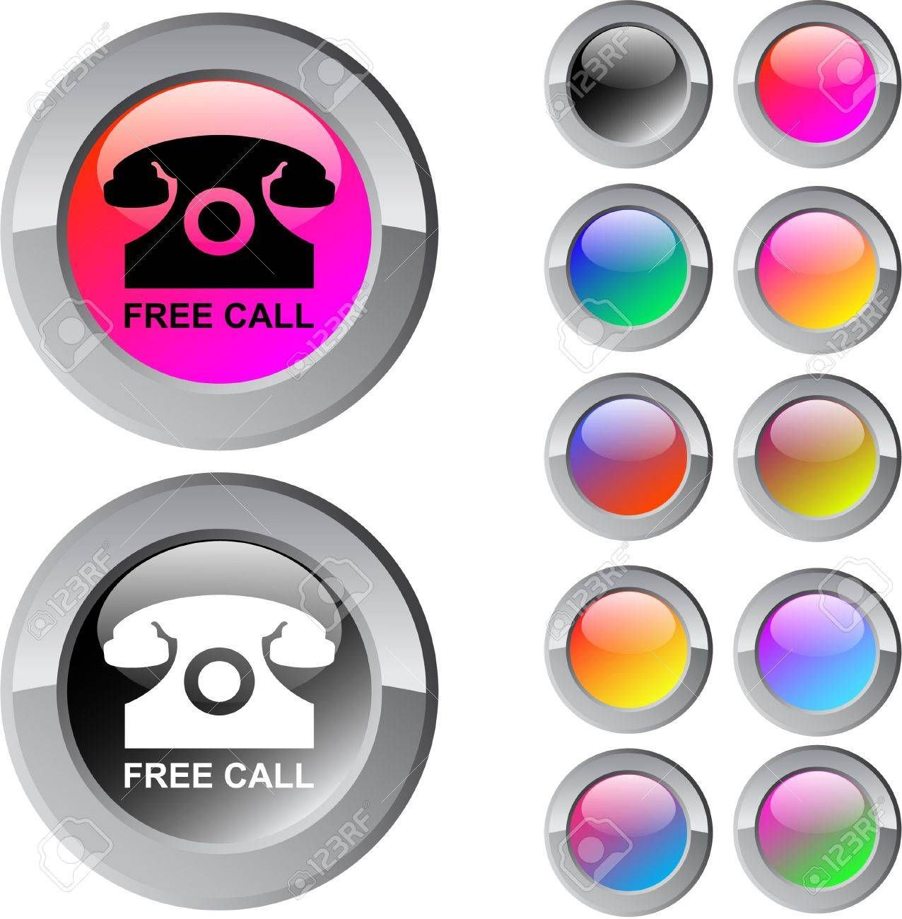 Free call multicolor glossy round web buttons. Stock Vector - 7261702