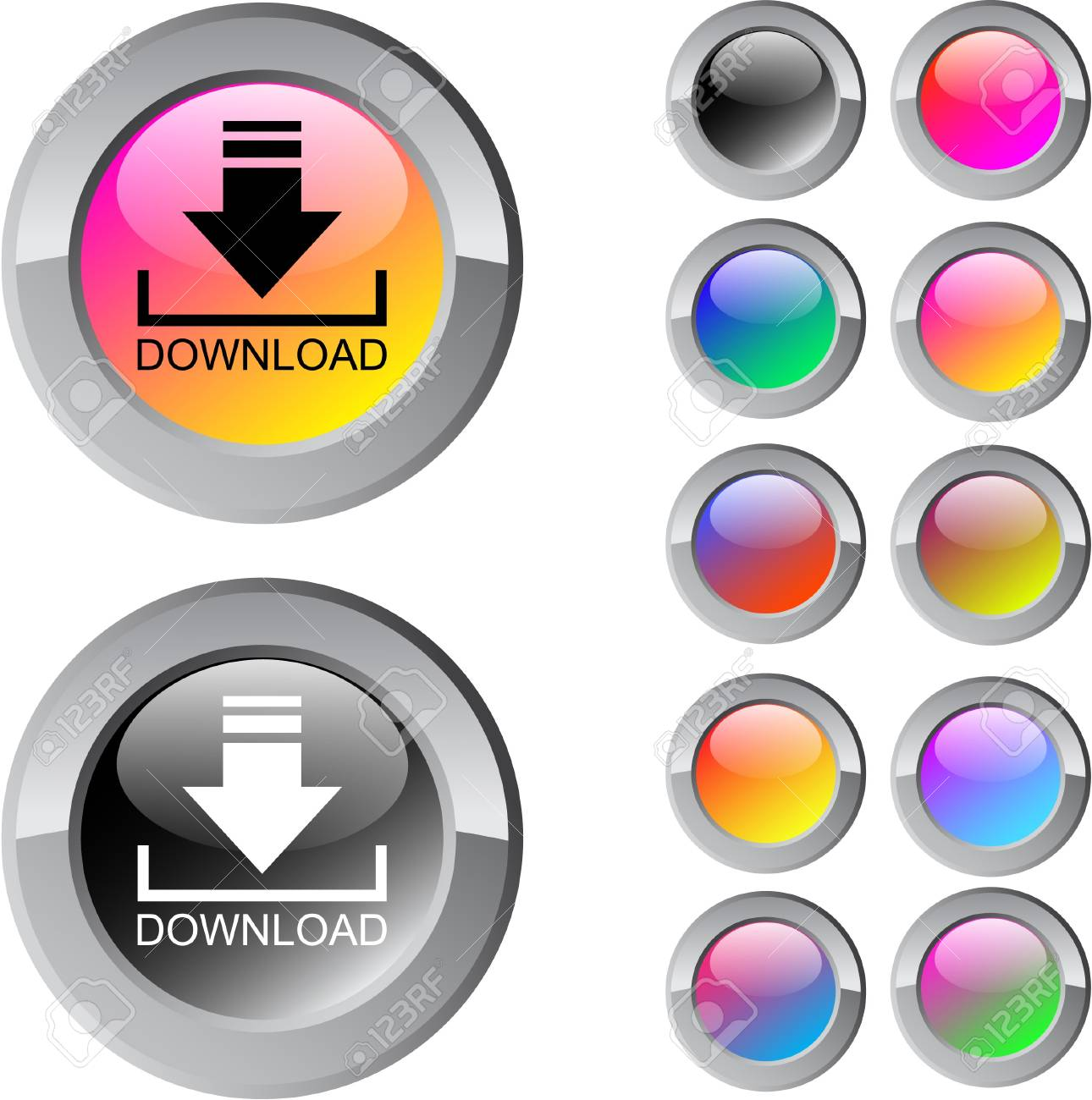 Download multicolor glossy round web buttons. Stock Vector - 7282266