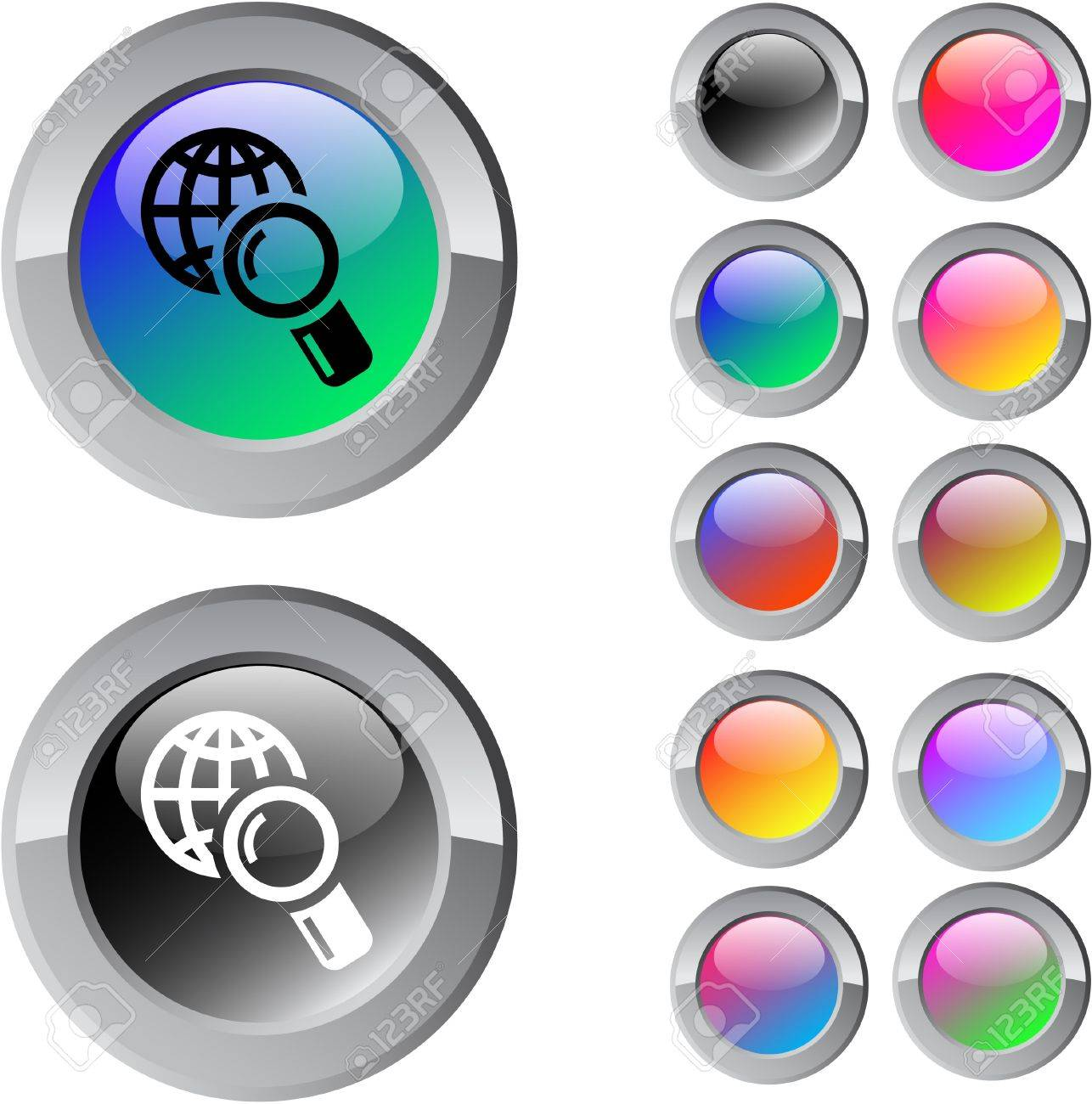 Global search multicolor glossy round web buttons. Stock Vector - 7292121