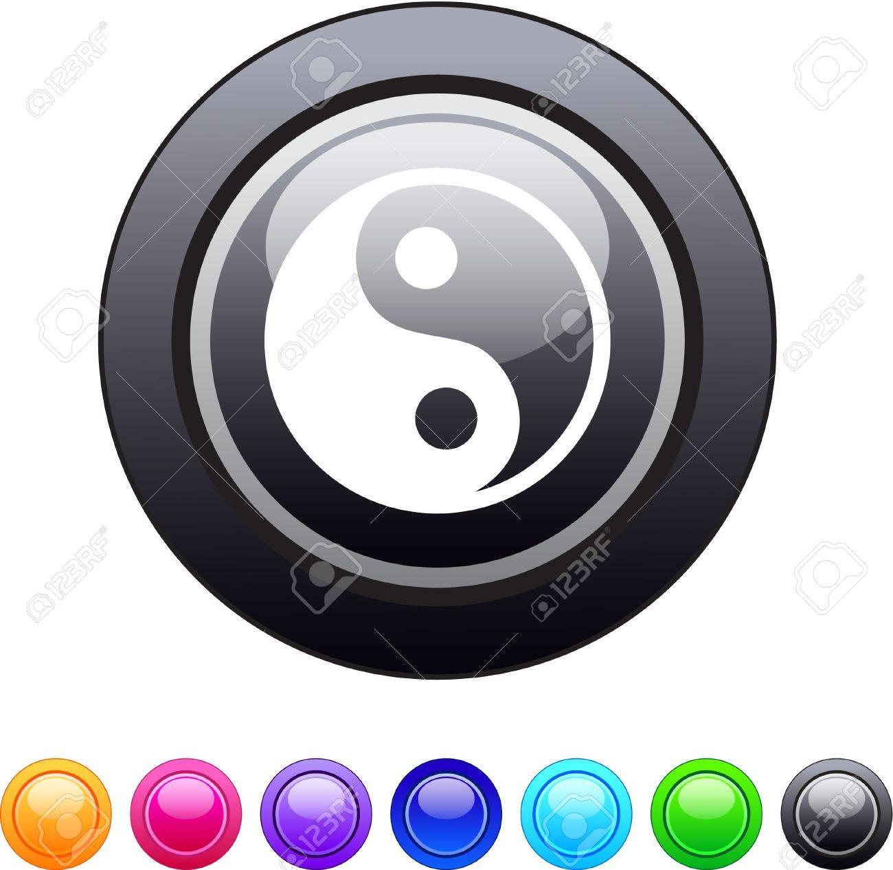 Ying yang glossy circle web buttons. Stock Vector - 7326404