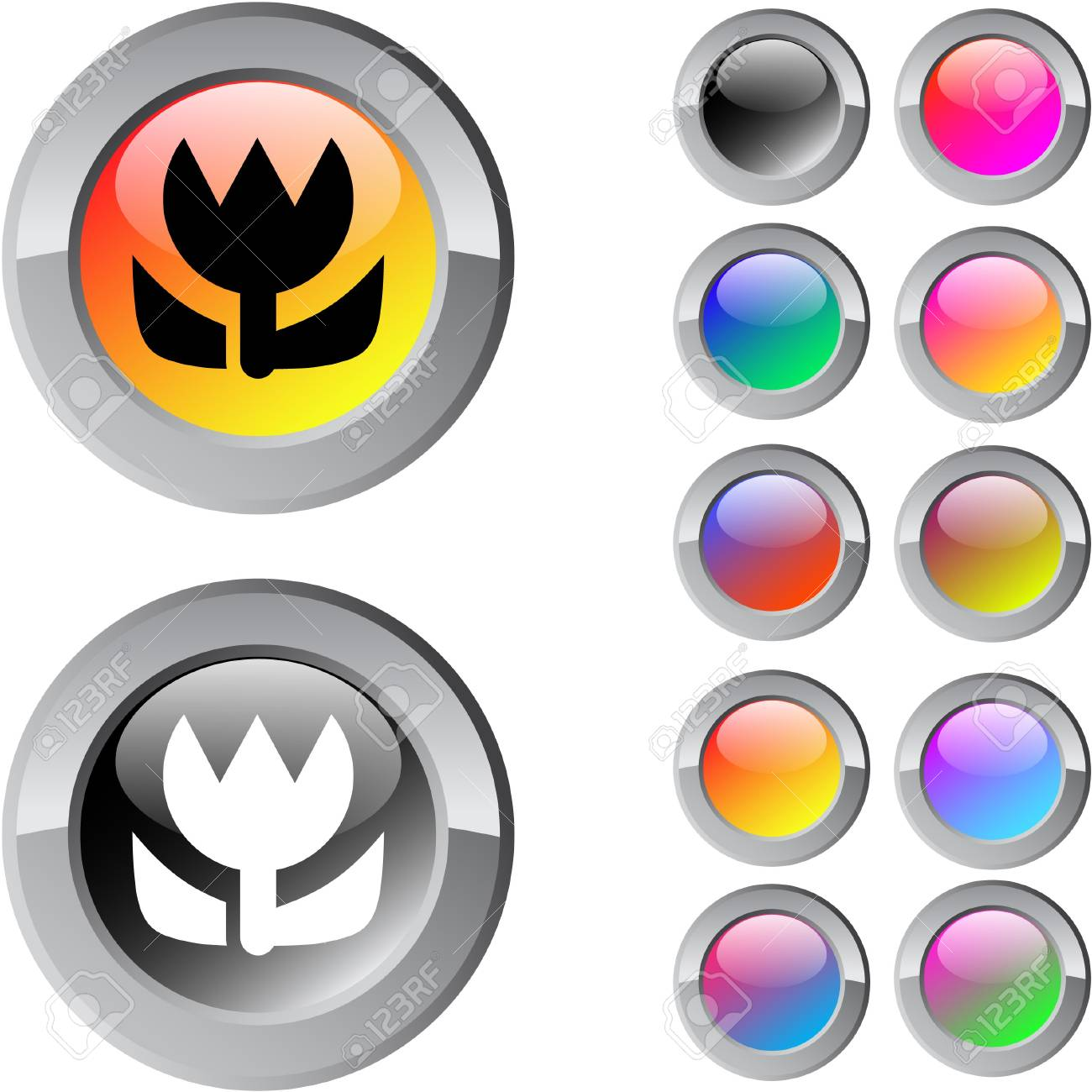 Macro multicolor glossy round web buttons. Stock Vector - 7361607