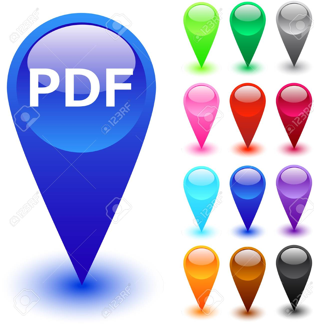 PDF glossy web buttons. Stock Vector - 7375383