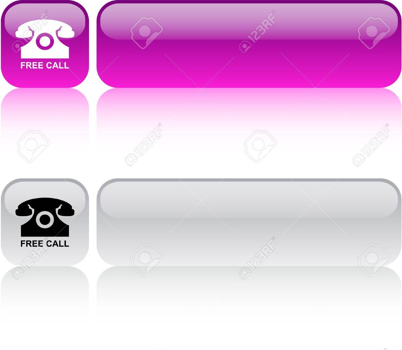 Free call  glossy square web buttons. Stock Vector - 7436839