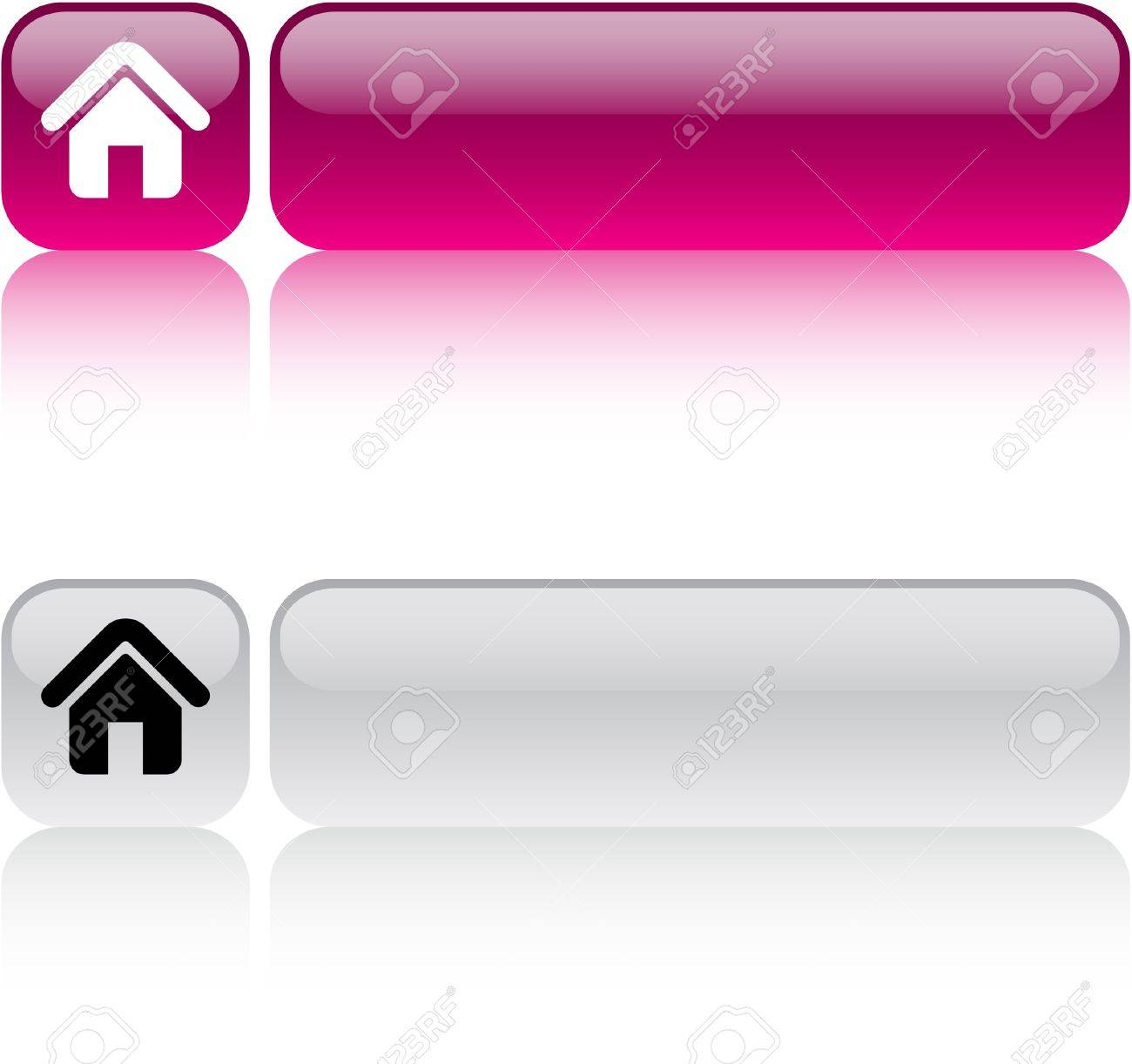 Home glossy square web buttons. Stock Vector - 7436831