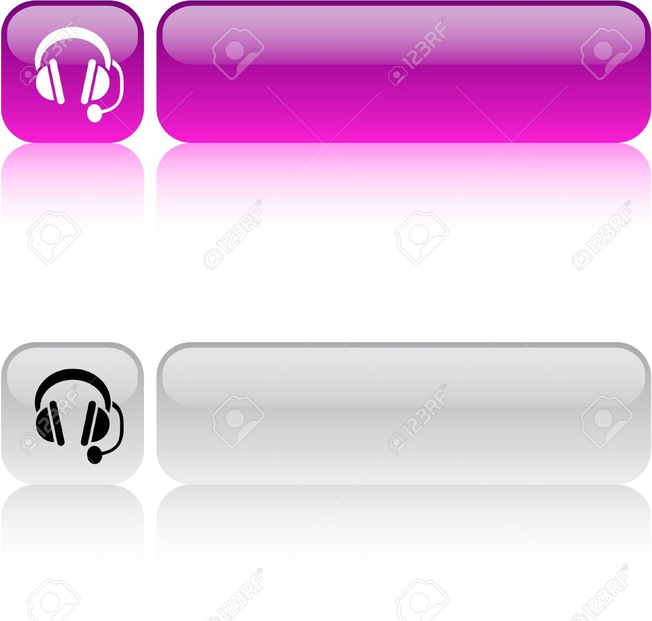 Call center glossy square web buttons. - 7436866