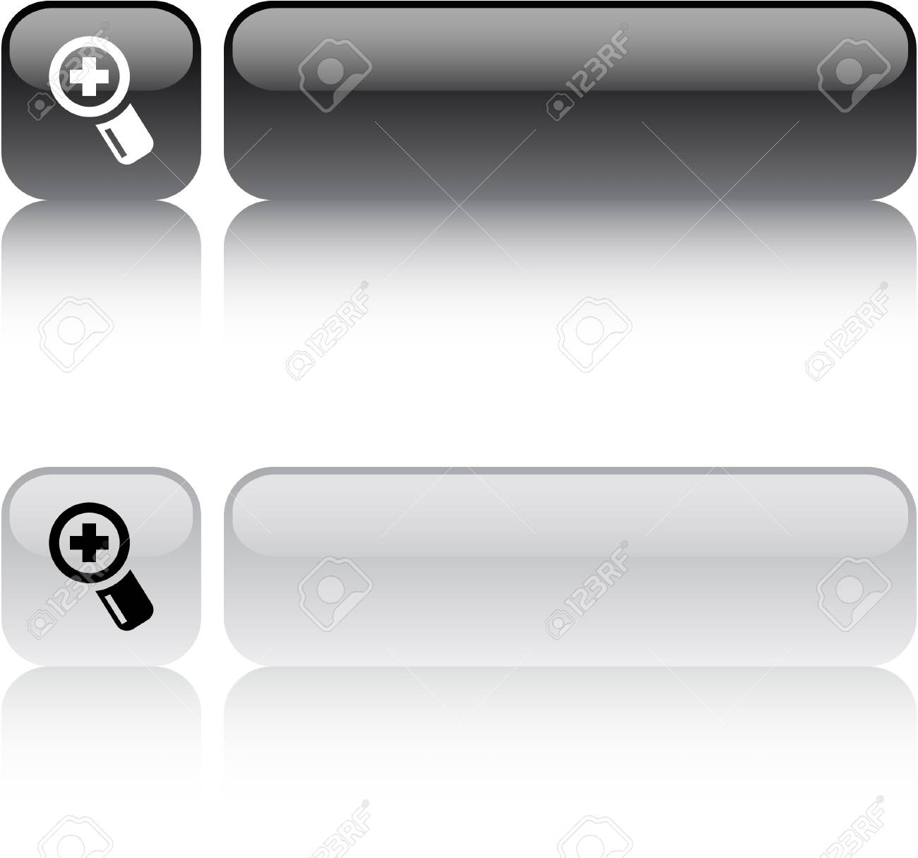 Add glossy square web buttons. Stock Vector - 7436859