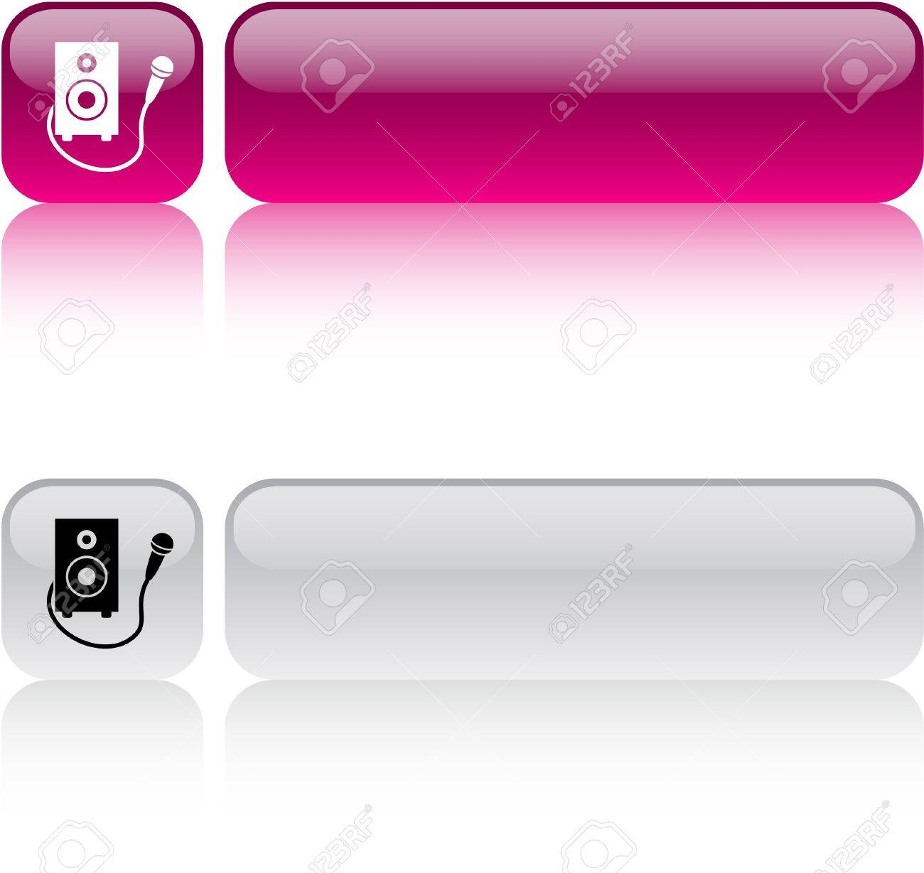 Karaoke glossy square web buttons. Stock Vector - 7454539