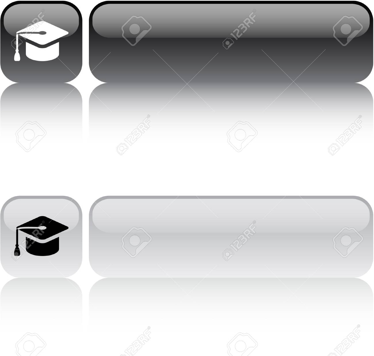 Graduation glossy square web buttons. Stock Vector - 7454527