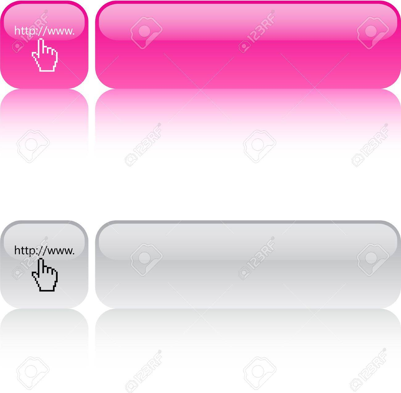 Www click glossy square web buttons. Stock Vector - 7470103