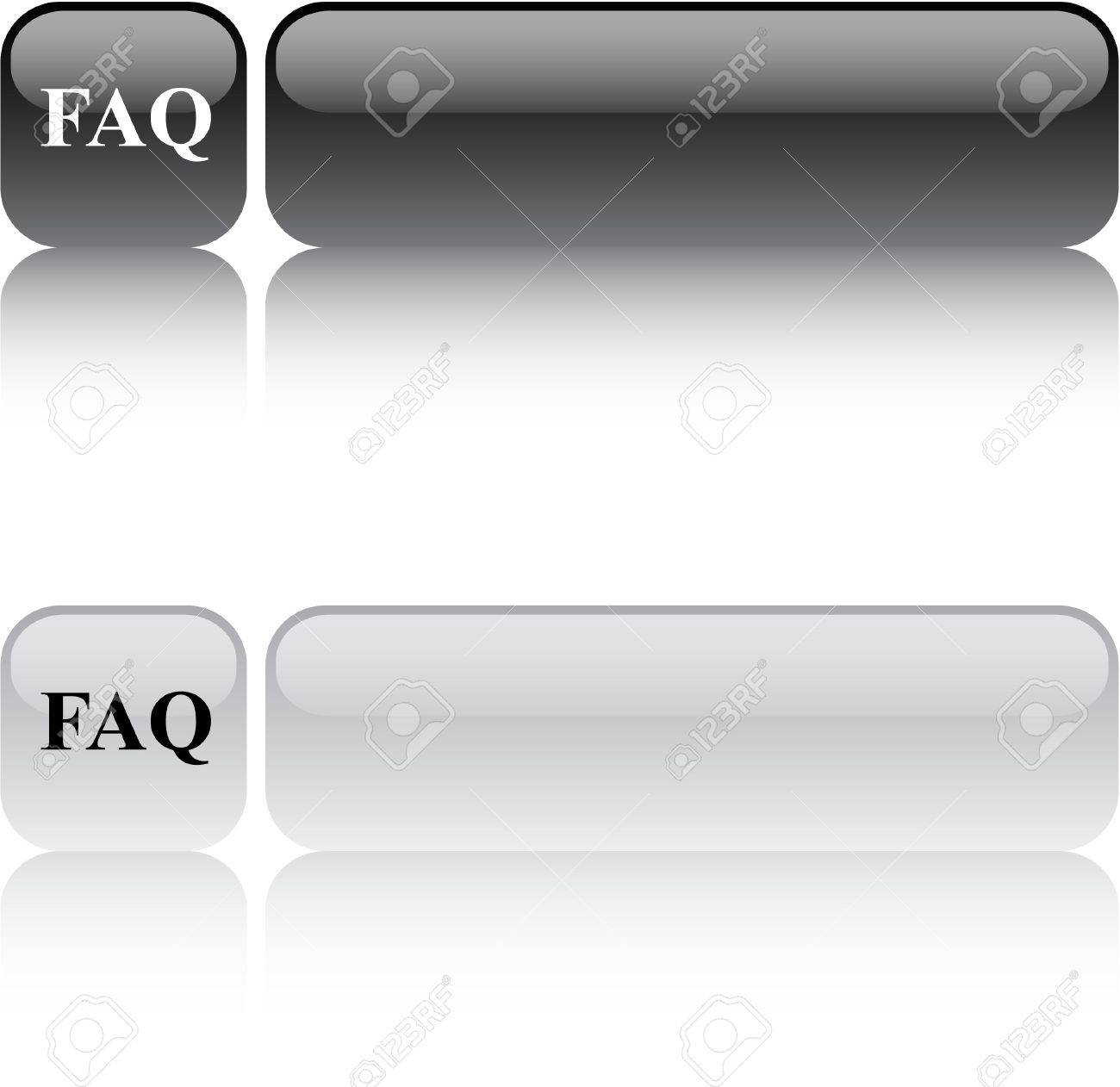FAQ glossy square web buttons. Stock Vector - 7470099