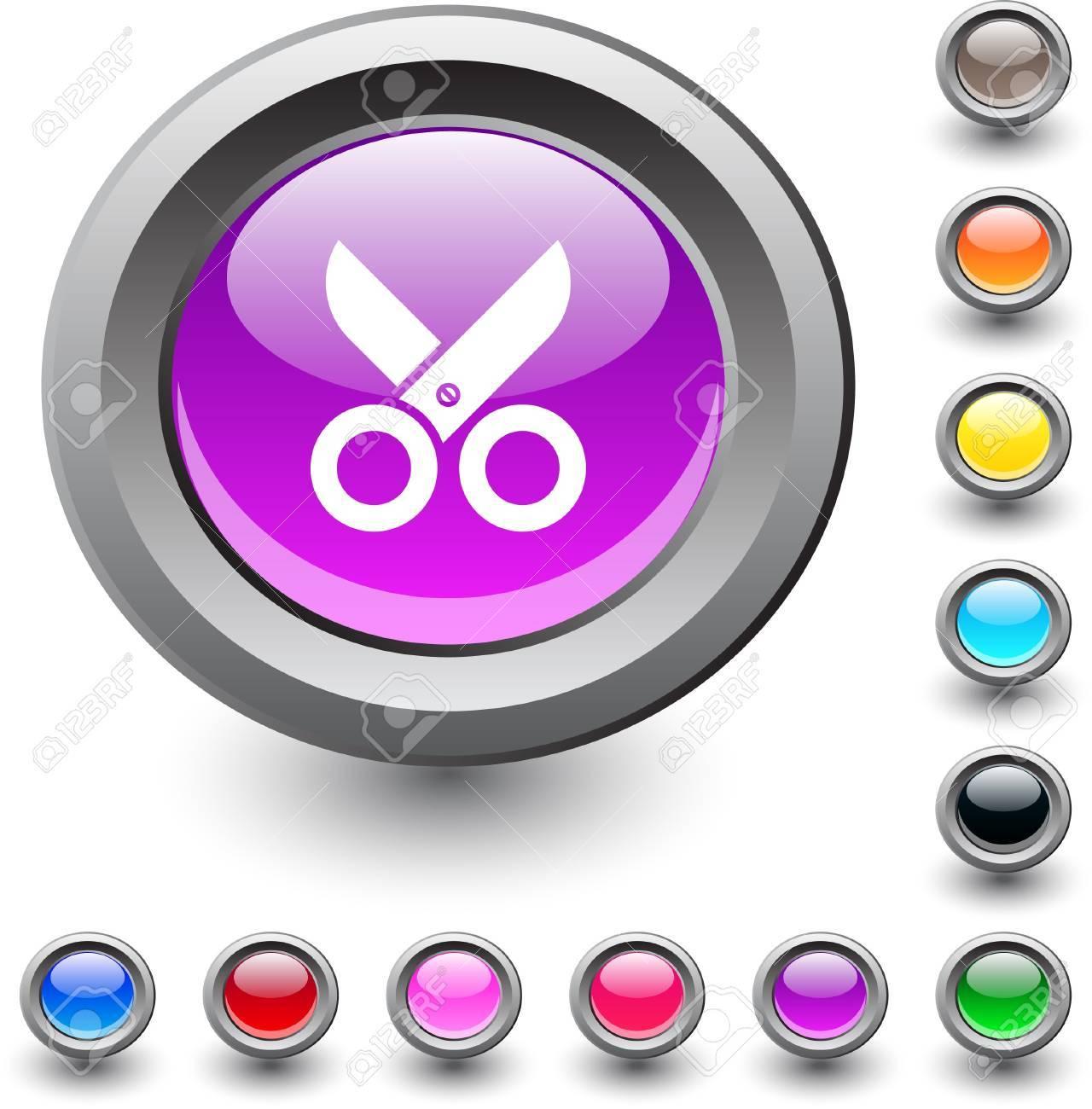 Scissors  metallic vibrant round icon. Stock Vector - 7531722