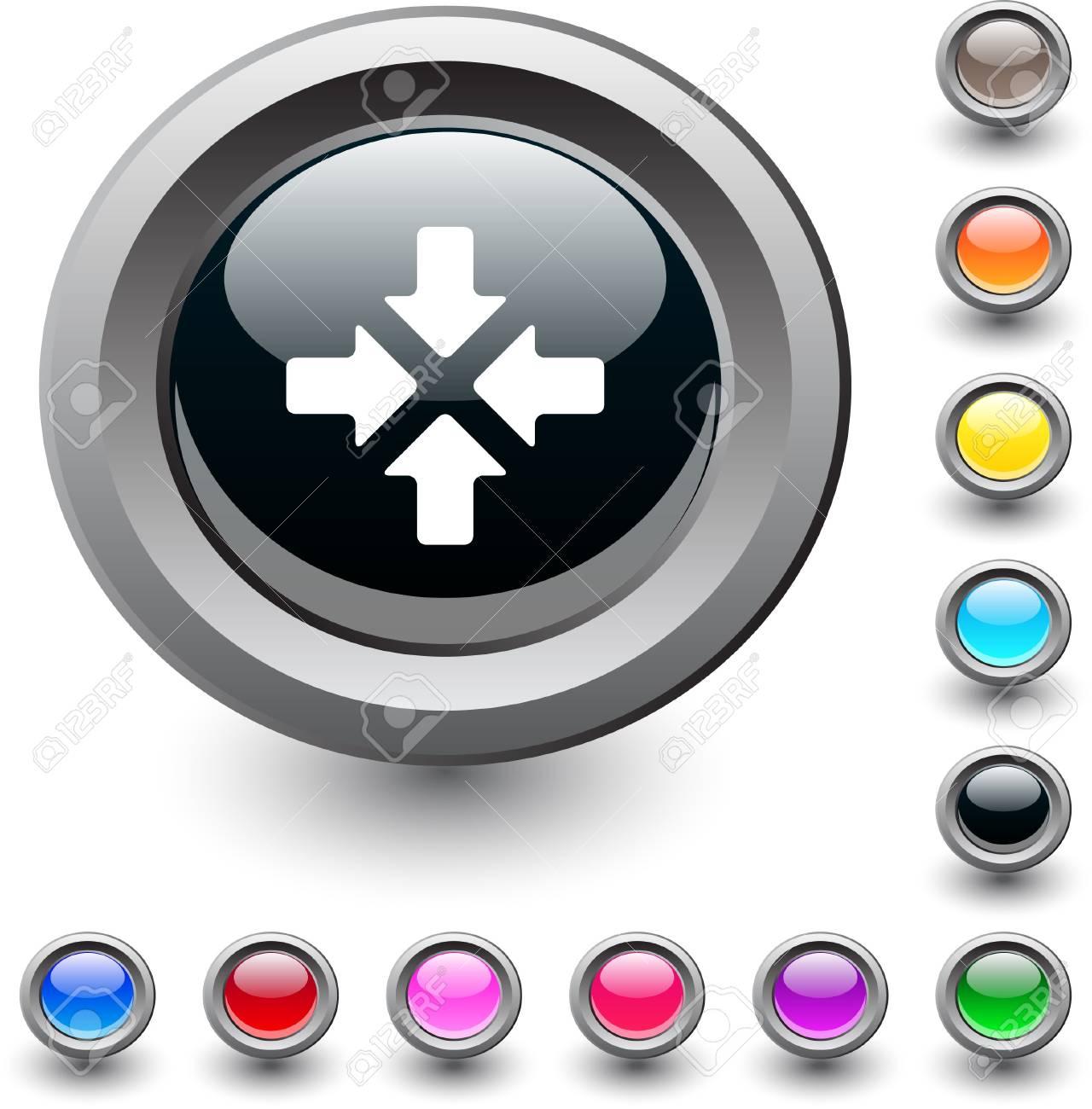 Click here  metallic vibrant round icon. Stock Vector - 7531737