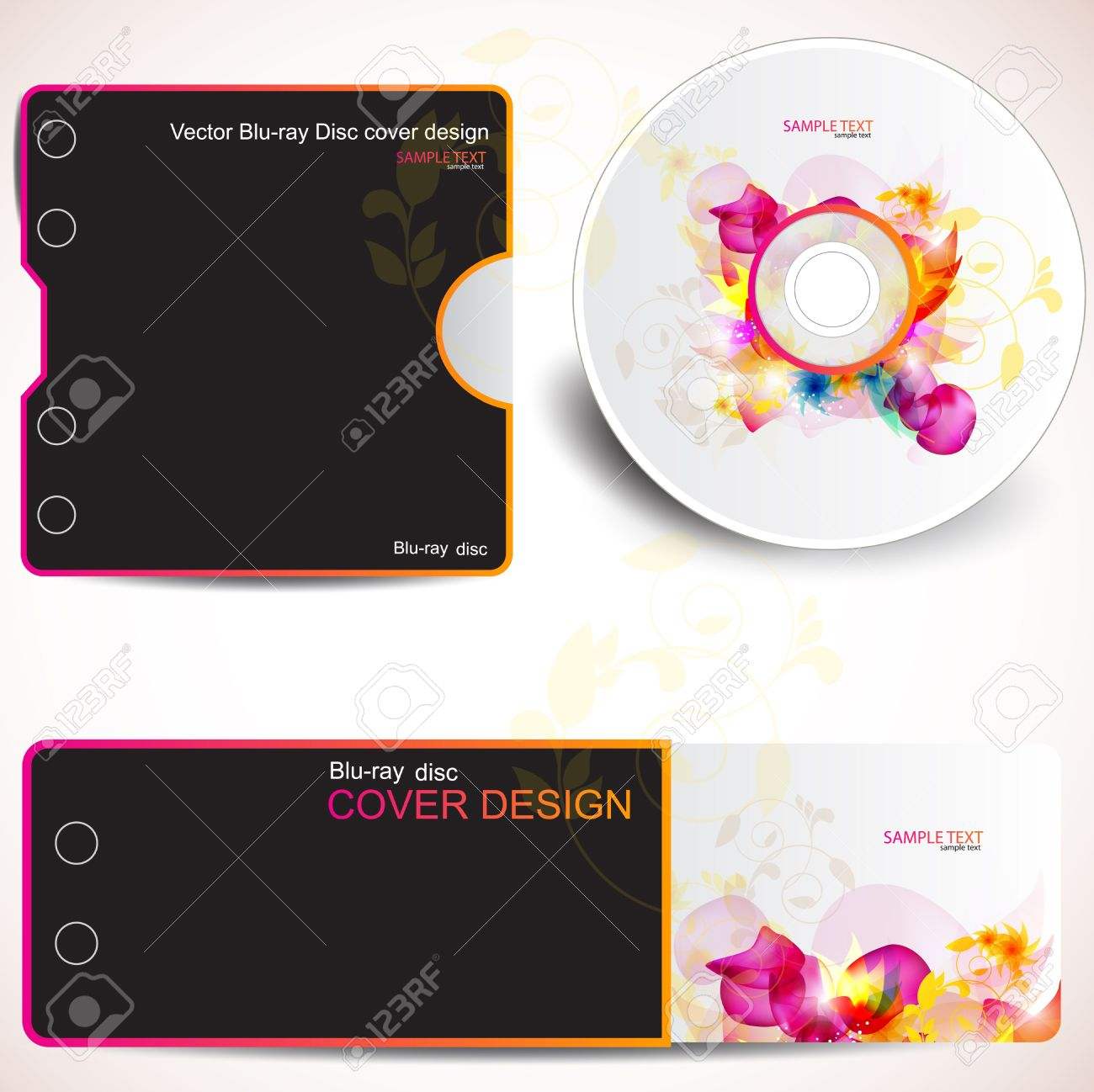 Cover Design Template Of Disk And Business Card. Floral Design ...