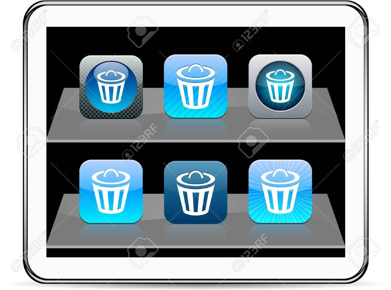 Dustbin Set of apps icons. Vector illustration doesn't contain transparency and other effects. EPS8 Only. Stock Vector - 9945361