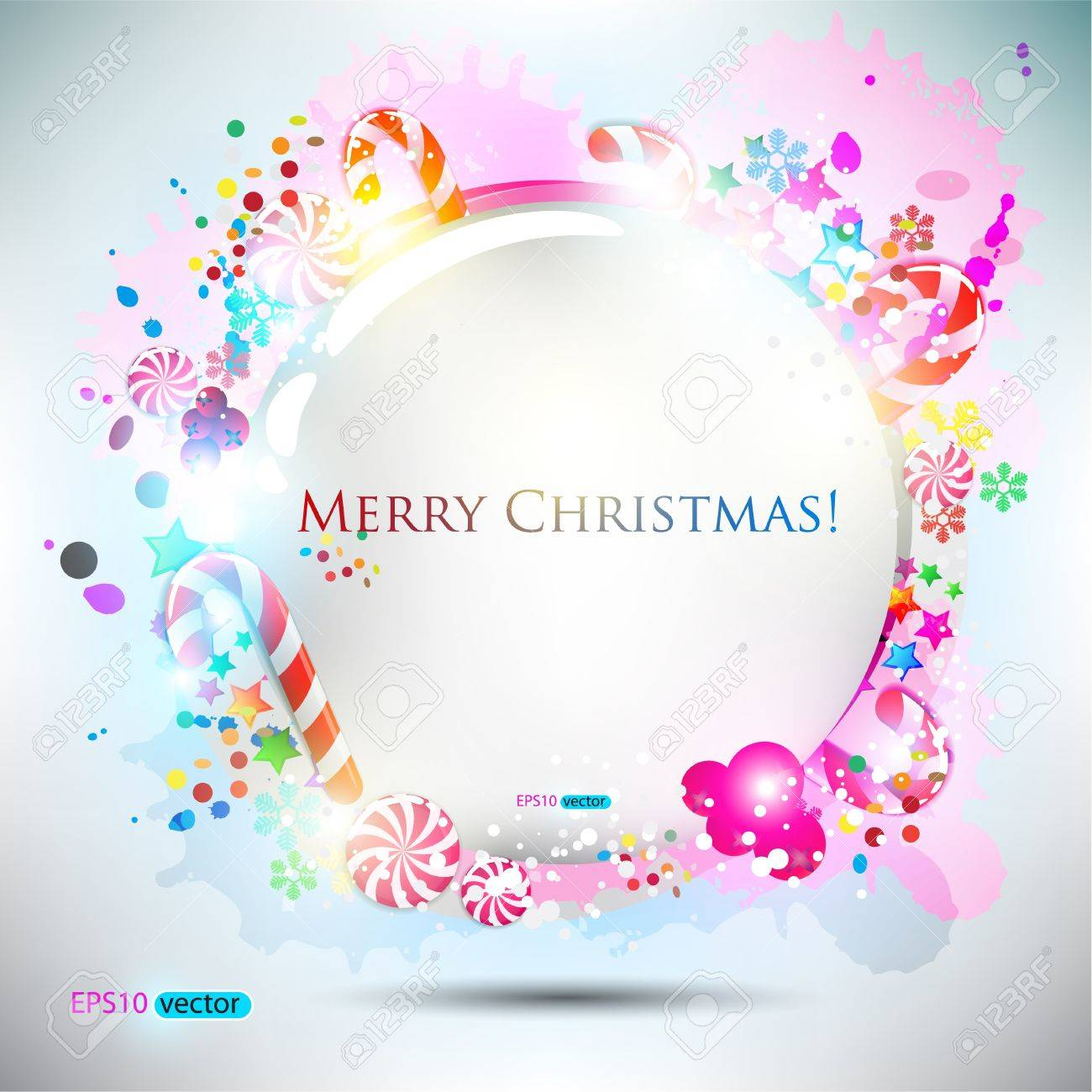 Abstract glossy speech bubble with Christmas candy. background Stock Vector - 11154953