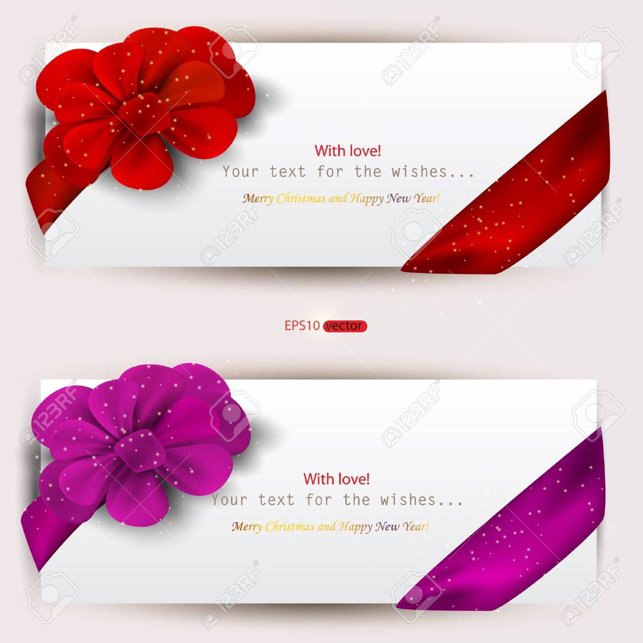 Collection of gift cards with ribbons. Vector  background Stock Vector - 11655645